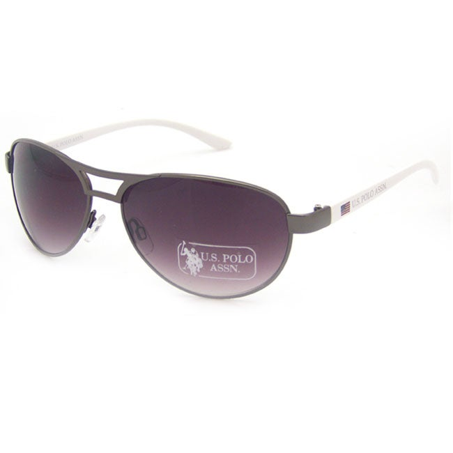 US Polo Association Women's 'Kiawah' Gunmetal/White Aviator Sunglasses