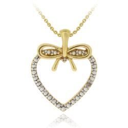 DB Designs Two-tone Sterling Silver Diamond Accent Bow Heart Necklace