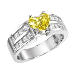 14k White Gold 2ct TDW Yellow and White Diamond Ring (G-H, SI1-SI2)
