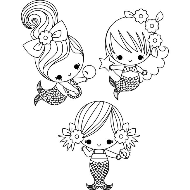 Stamping Bella '3 Little Mermaids Under The Sea' Unmounted Rubber Stamps