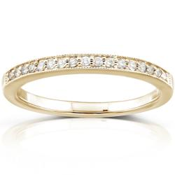 14k Yellow Gold 1/10ct TDW Diamond Wedding Band