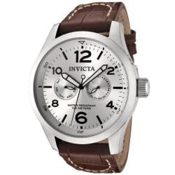 Invicta Men's 'Invicta II' Silver Dial Brown Calf Leather Watch