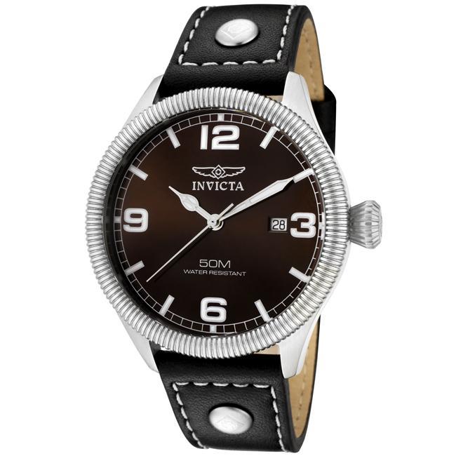 Invicta Men's 'Vintage' Brown Dial Black Leather Watch