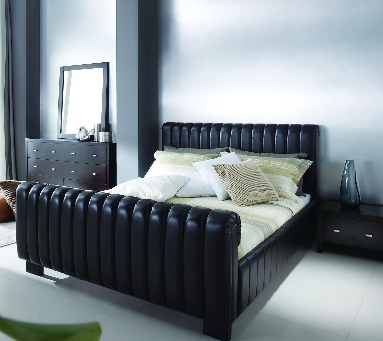 Kent Dark Brown Upholstered Modern Platform Queen Bed