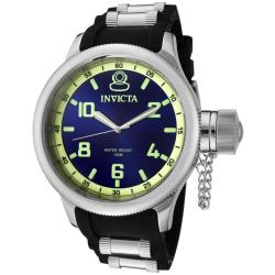 Invicta Men's 'Russian Diver' Blue Dial Black Polyurethane Watch