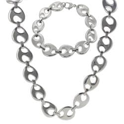 Stainless Steel Link Necklace and Bracelet Set