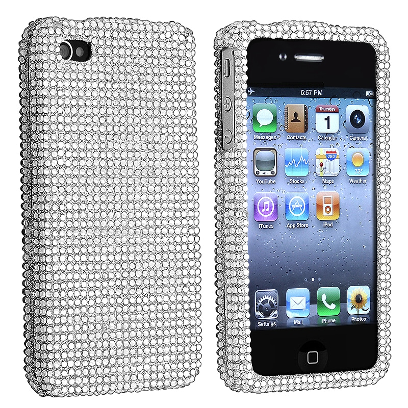 Silver Diamond Snap-on Case for Apple iPhone 4