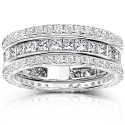 14k Gold 3ct TDW Diamond 3-piece Stackable Eternity Ring Set (H-I, I1-I2)