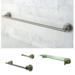 Satin Nickel 3-piece Shelf and Towel Bar Bathroom Accessory Set