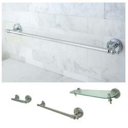 Chrome 3-piece Shelf and Towel Bar Bathroom Accessory Set