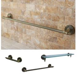 Vintage Brass 3-piece Shelf and Towel Bar Bathroom Accessory Set