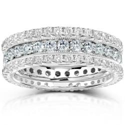 14k Gold 2ct TDW Diamond 3-piece Stackable Eternity Ring Set