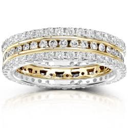 14k Gold 1 1/2ct TDW Diamond 3-piece Stackable Eternity Ring Set