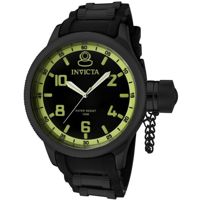 Invicta Men's 'Russian Diver' Black Dial Black Polyurethane Watch