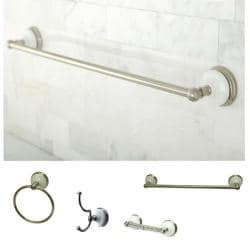 Satin-Nickel Four-Piece Bathroom Accessory Set with Mounting Hardware