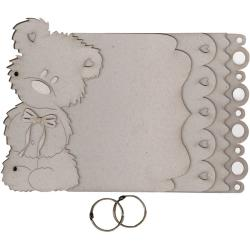 Fabscraps Grey 'Teddy Bear' Die-Cut Chipboard Album