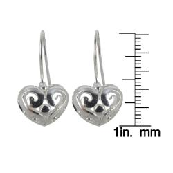Sunstone Sterling Silver Puffy Heart Dangle Earrings