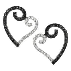 Tressa Silvertone Black and White CZ Heart Earrings