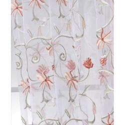 Marthas Bouquet White Embroidered Organza 96-inch Sheer Curtain Panel