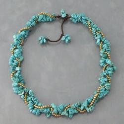 Goldtone Turquoise Twist Wrap Necklace (Thailand)
