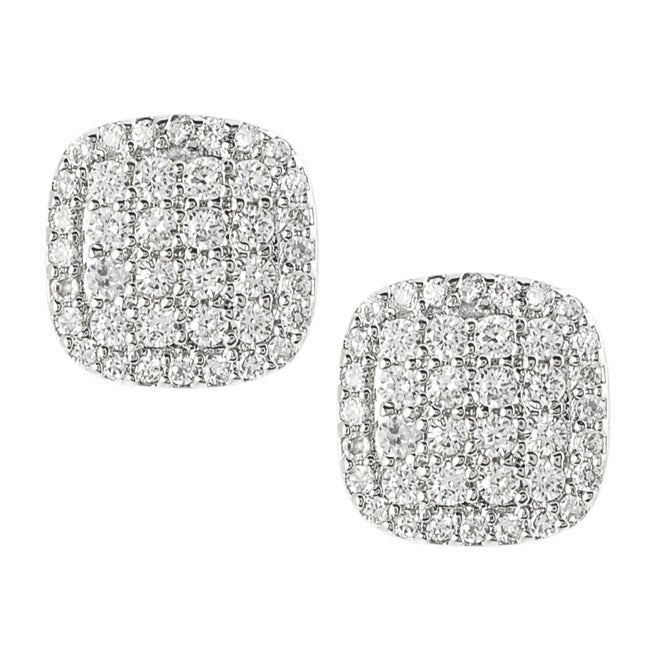 Silvertone Pave-set Cubic Zirconia Earrings