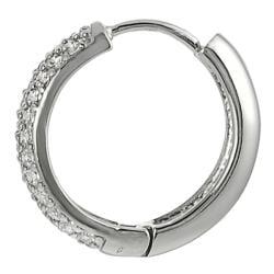 Silvertone Cubic Zirconia Hoop Earrings