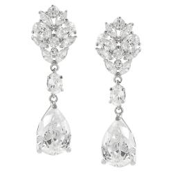 Journee Collection Silvertone Cubic Zirconia Dangle Earrings