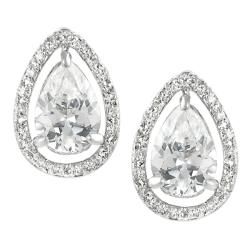 Journee Collection Silvertone Cubic Zirconia Teardrop Earrings
