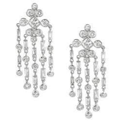 Tressa Silvertone Cubic Zirconia Dangle Earrings