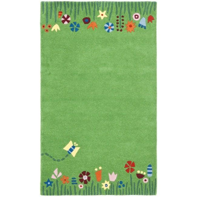 Safavieh Handmade Children's Summer Grass Green N. Z. Wool Rug (3' x 5')