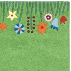 Handmade Children's Summer Grass Green N. Z. Wool Rug (8' x 10')