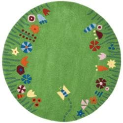 Handmade Children&#39;s Summer Grass Green N. Z. Wool Rug (4&#39; Round)