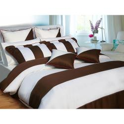 Chocolate/ White Cotton 5-piece Duvet Cover Set