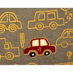 nuLOOM Handmade Kids Cars New Zealand Wool Rug (5' x 8')