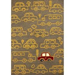 Handmade Luna Kids Cars New Zealand Wool Rug (5' x 8')