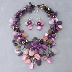 Purple and Black Floral 925 Jewelry Set (Thailand)
