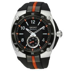 Seiko Men's Stainless Steel Sportura Quartz Black Dial Strap Watch