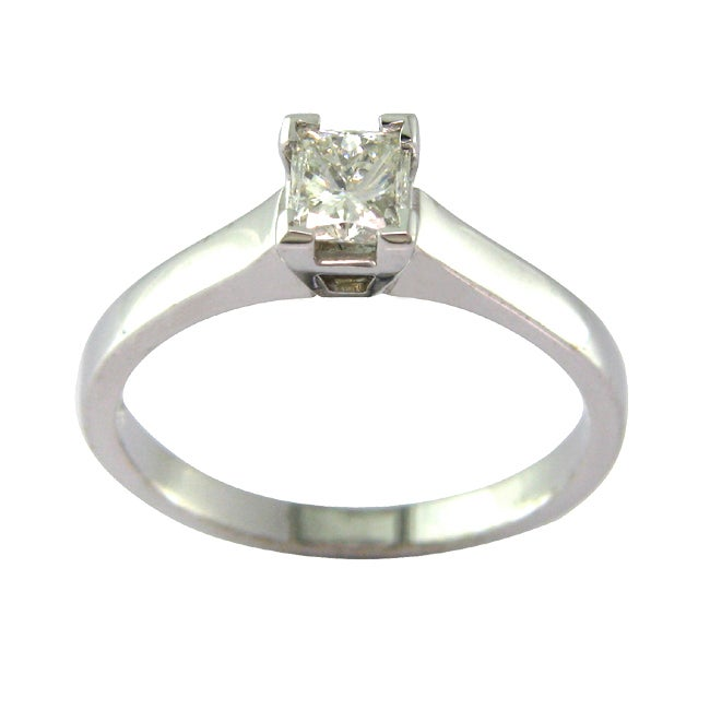 14k White Gold 1/2ct TDW Certified Clarity-enhanced Diamond Ring (J, SI1)