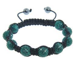 Eternally Haute Hematite and Emerald Green Crystal Eternity Macrame Bracelet