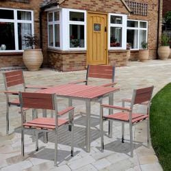 Casimir Stainless Steel Frame Wood Composite Dining Set