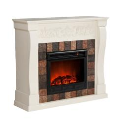 Moreland Ivory and Gray Faux Slate Electric Fireplace