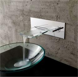 Kokols Bath Glass Wall-mounted Waterfall Chrome Faucet