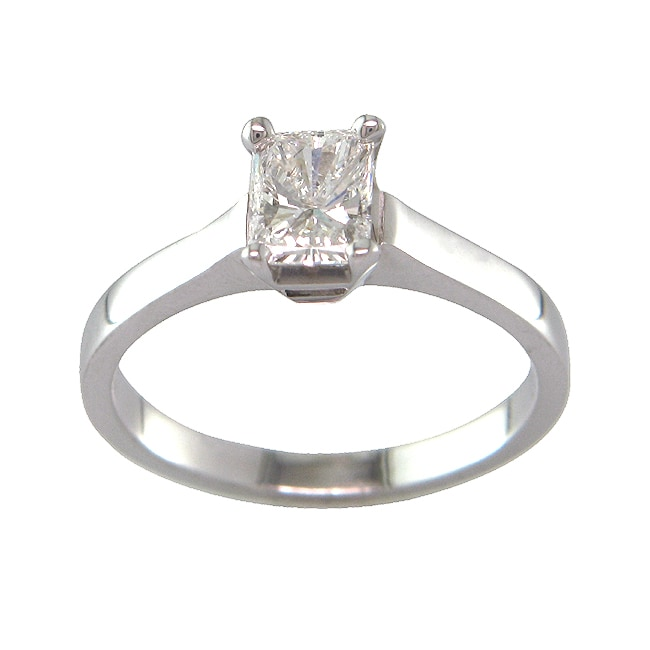 14k White Gold 3/4 CT TDW Certified Clarity-enhanced Radiant-cut Diamond Solitaire Engagement Ring (F, SI1)