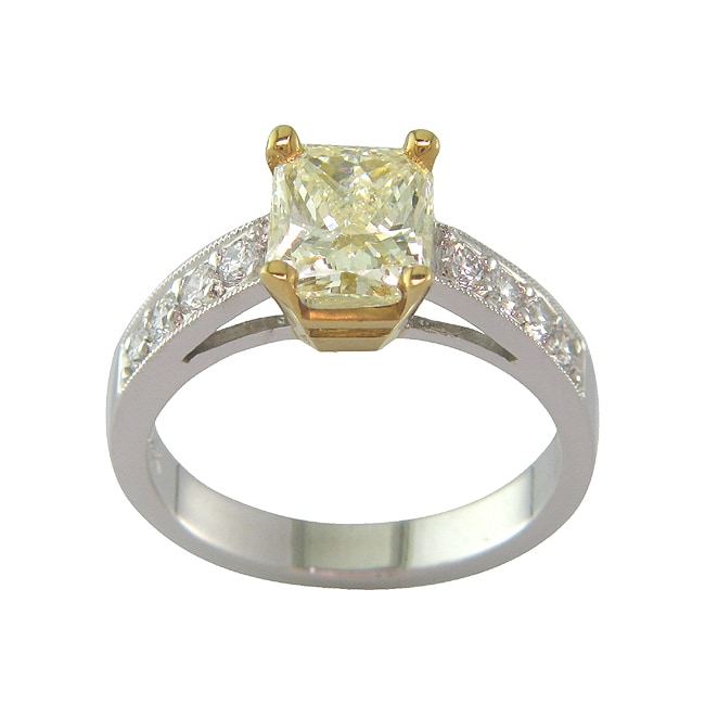 14k White Gold 2 1/5 CT TDW Certified Clarity-enhanced Fancy Light Yellow Diamond Ring (FLY, SI2)