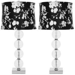 Indoor 1-light Glass Sphere Black/ White Shade Table Lamps (Set of 2)