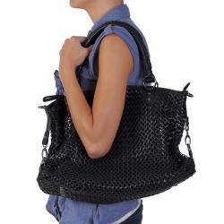 Journee Collection Women's Basketweave Zipper Top Handbag