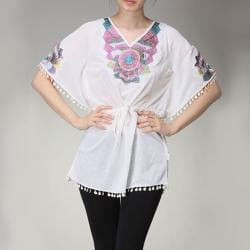 Tabeez Women's Embroidered V-neck Tunic