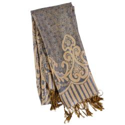Adi Designs Women's Arabic Print Fringed Pashmina Shawl