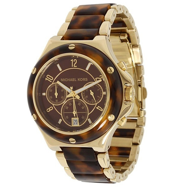 Michael Kors Women's Chronograph Tortoise Brown Dial Watch