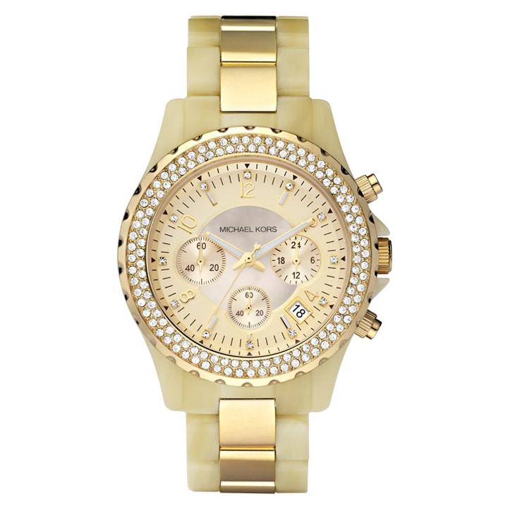 Michael Kors Women's MK5417 Glitz Chronograph Horn and Gold Watch